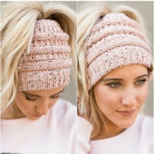 Pink Confetti Messy Bun Cable Knit Beanie